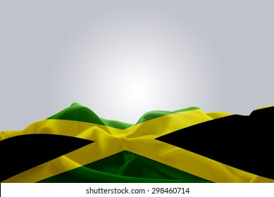waving abstract fabric Jamaica flag on Gray background