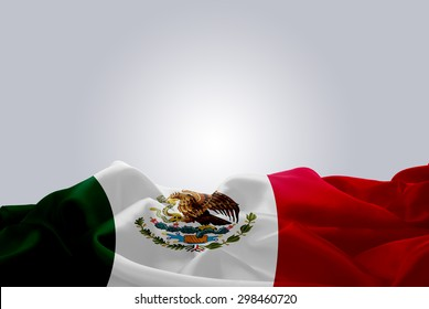 waving abstract fabric Mexico flag on Gray background