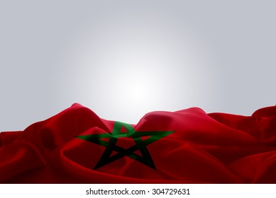 waving abstract fabric Morocco flag on Gray background