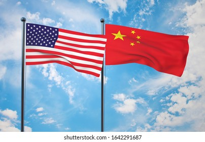 Waving American and Chinese flag at pole over sky