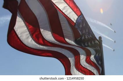 Waving American Flag jet planes behind