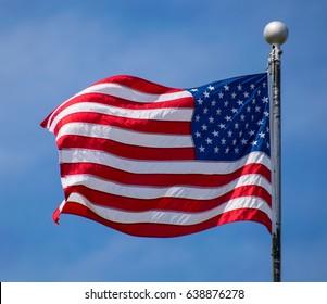 Waving American Flag on a pole in Minnesota