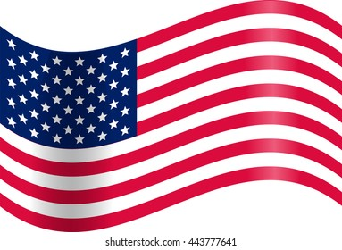 Waving American flag. Presidents day. JPEG, JPG Illustration. USA Stripes and Stars