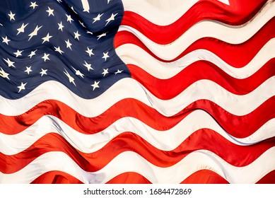 Waving American flag, ripple effect