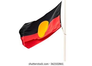 Waving Australian Aboriginal flag on white background