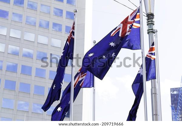 Waving Australian flag in Melbourne