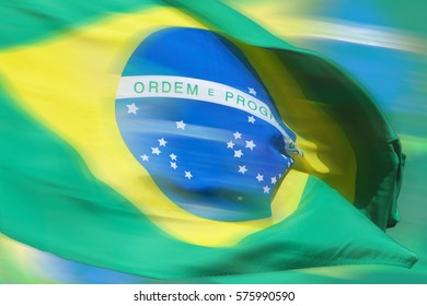 Waving brazilian flag for background