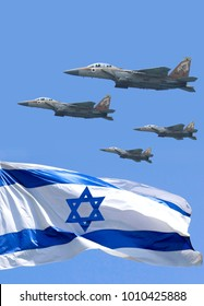 Waving colorful Flag of Israel. Military aircraft. Independence day of Israel
