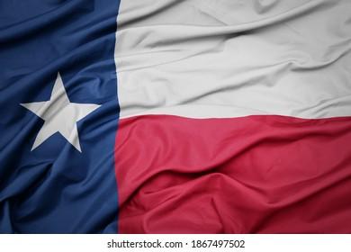 waving colorful flag of texas state. macro shot