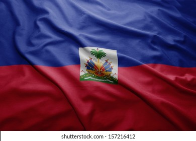 Waving colorful Haitian flag
