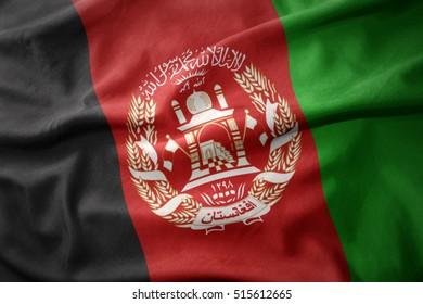 waving colorful national flag of afghanistan.