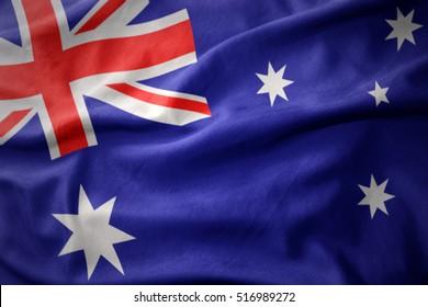 waving colorful national flag of australia.