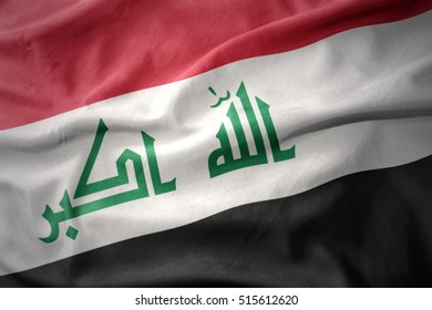 waving colorful national flag of iraq.