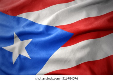 waving colorful national flag of puerto rico.