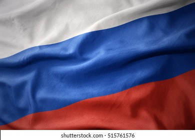 waving colorful national flag of russia.