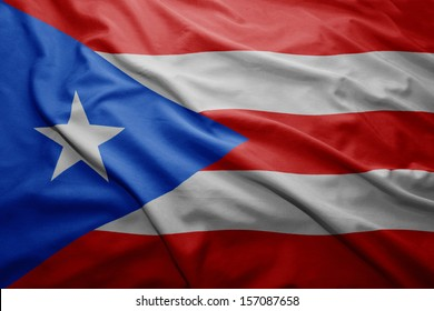 Waving colorful Puerto Rico flag