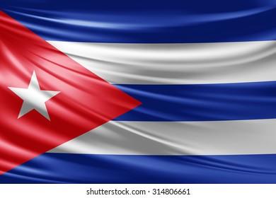 Waving Cuba flag of silk