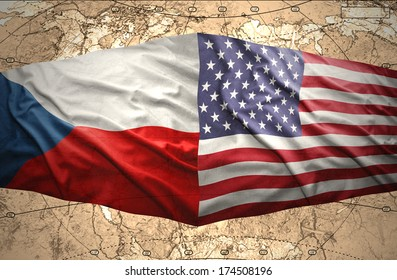 Waving Czech and American flags of the political map of the world