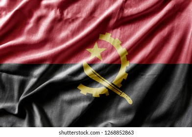 Waving detailed national country flag of Angola
