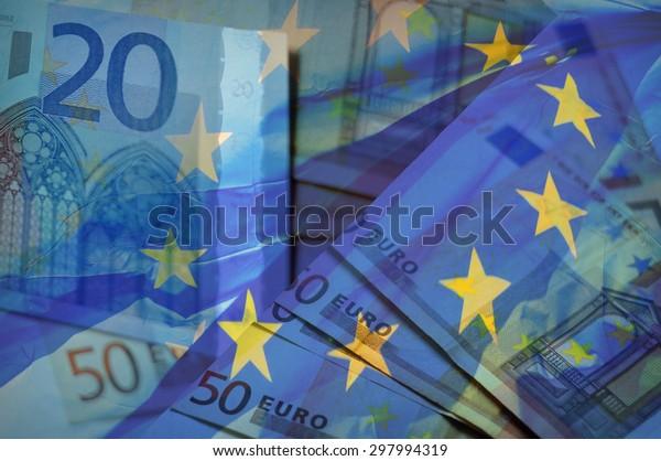 Waving EU flag on a euro money - background