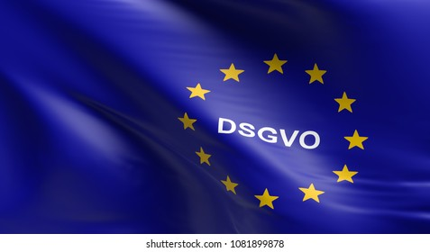 Waving European Union flag with DSGVO, General Data Protection Regulation, 3d rendering