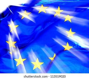 A waving European Union Flag in sunshine