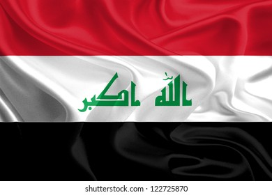 Waving Fabric Flag of Iraq