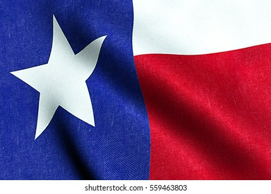 waving fabric texture of the flag with blue and red color of nation texas, nation of the usa, united states