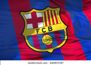 waving fabric texture flag of FC Barcelona football club, real texture flag, editorial use only
