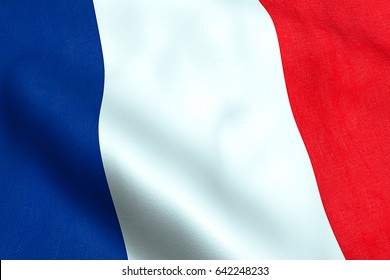 waving fabric texture of the flag of france, red, white, blue color of french republic