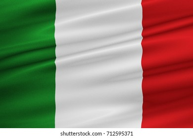 waving fabric texture of the flag of italy, national patriotic flag