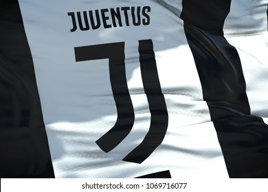 waving fabric texture flag of juventus football club, real texture flag, editorial use only