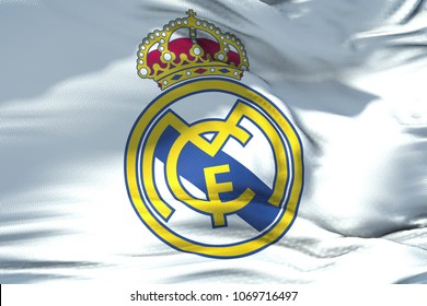 waving fabric texture flag of Real Madrid C.F. football club, real texture flag, editorial use only