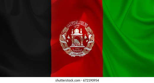 Waving flag of the Afghanistan. Flag in the Wind. National mark. Waving Afghanistan Flag. Afghanistan Flag Flowing. 3d Illustration.