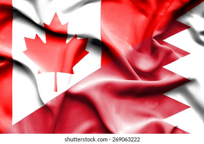 Waving flag of Bahrain and Canada