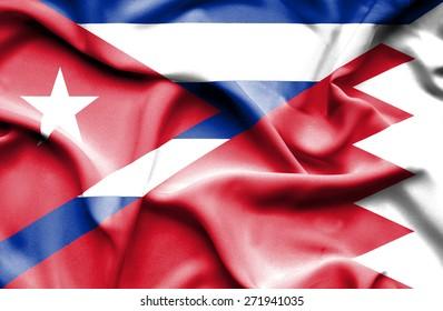 Waving flag of Bahrain and Cuba
