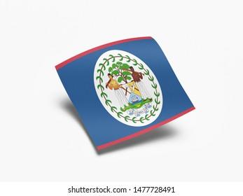 Waving Flag of Belize, Flag of Belize in White Background.