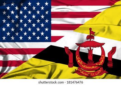 Waving flag of Brunei and USA