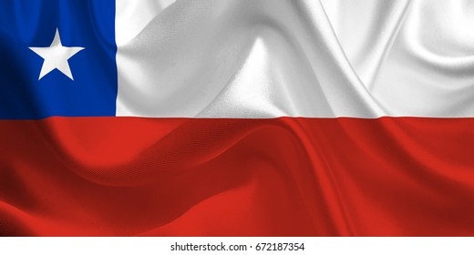Waving flag of the Chile. Chilean Flag in the Wind. National mark. Waving Chile Flag. Chile Flag Flowing. 3d Illustration.