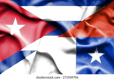 Waving flag of Chile and Cuba