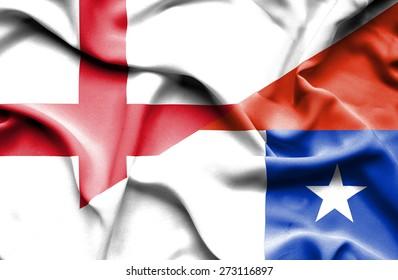 Waving flag of Chile and England