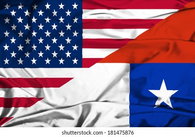 Waving flag of Chile and USA