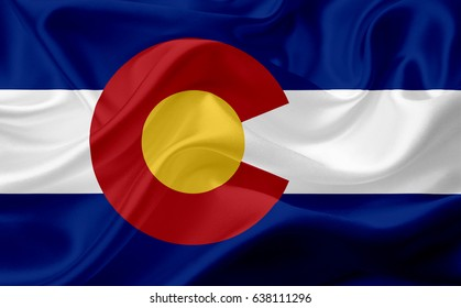Waving flag of Colorado, USA, with fabric texture