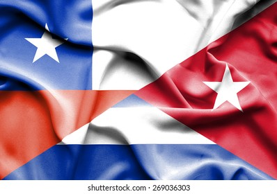 Waving flag of Cuba and Chile