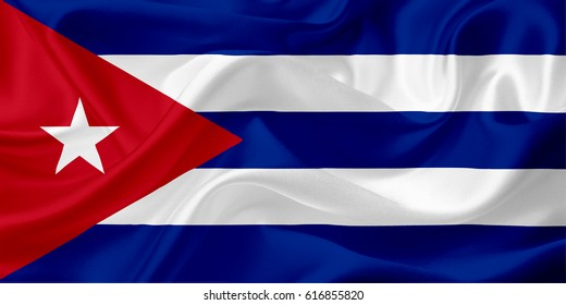 Waving flag of Cuba, with fabric texture