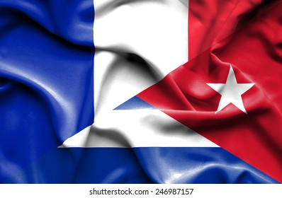 Waving flag of Cuba and France
