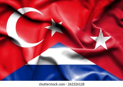 Waving flag of Cuba and Turkey