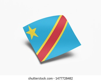 Waving Flag of Democratic Republic of the Congo, Flag of Democratic Republic of the Congo in White Background.
