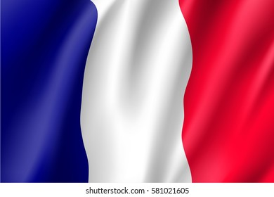 Waving flag of France. Illustration of 3D icon with red, white and blue colors.