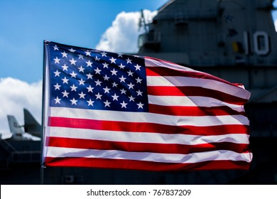 Waving Flag in front of ship